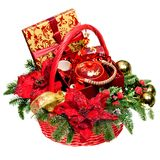 Christmas gift basket on white background Royalty Free Stock Image