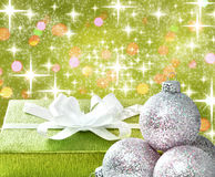 Christmas gift and baubles Royalty Free Stock Image