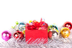 Christmas gift and baubles Royalty Free Stock Images