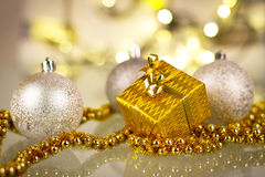 Christmas gift and baubles Royalty Free Stock Photos