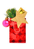 Christmas gift with baubles, pine twig Stock Image