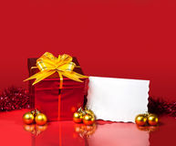Christmas gift and blank card Royalty Free Stock Images