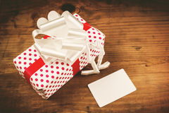 Christmas gift and blank greeting card Stock Images