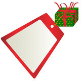 Christmas Gift With Blank Tag Royalty Free Stock Photos