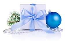 Christmas gift with Blue Ball, tree branch, ribbon Stock Photo