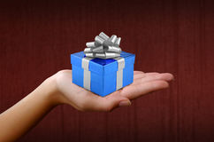 Christmas gift in blue box Stock Photos