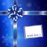 Christmas gift blue and silver Stock Photos