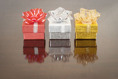 Christmas gift, bokeh background. Christmas gift,  color golden, silver, red Stock Photo