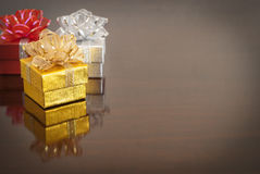 Christmas gift, bokeh background. Christmas gift,  color golden, silver, red Stock Image