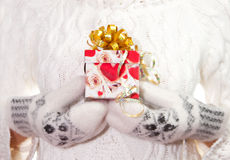 Christmas gift with bow in palms of hands Stock Image