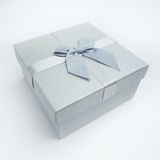 Christmas gift box. Silver christmas gift box with ribbon and bow Stock Images