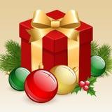 Christmas gift box. Christmas gift box with balls and fir tree Royalty Free Stock Photo