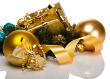 Christmas gift box. Branch and golden balls Royalty Free Stock Images