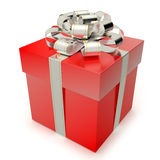 Christmas Gift Box. A red gift box with silver ribbon and bow  on white background. Computer generated image with clipping path Stock Images