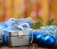 Christmas gift box on abstract background Royalty Free Stock Image