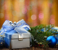 Christmas gift box on abstract background Stock Image