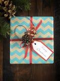 Christmas gift box in aqua and brown kraft paper Stock Photo