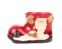 Christmas gift box as boot. Stock Photos