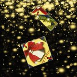 Christmas. Gift box on a background background with golden snowflakes and stars. Top veiw Stock Images