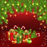 Christmas Gift Box, Ball, Candy, Garland, Fir-tree Royalty Free Stock Image