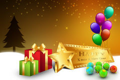 Christmas gift box with balloons. In color background Stock Photography