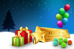 Christmas gift box with balloons. In color background Royalty Free Stock Photos