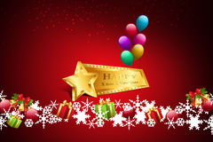Christmas gift box with balloons Royalty Free Stock Images