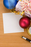 Christmas gift box with balls Royalty Free Stock Image