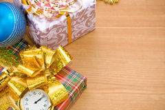 Christmas gift box with balls Stock Photography