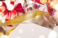 Christmas gift box and balls Royalty Free Stock Photo