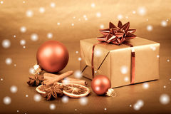 Christmas gift box with baubles with snow. Christmas gift box with christmas balls with snow Royalty Free Stock Photo