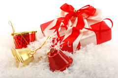 Christmas gift box and bell Stock Photography