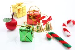 Christmas gift box bell candy toy isolated Royalty Free Stock Image