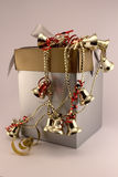 Christmas gift box with bells Royalty Free Stock Photography
