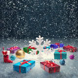 Christmas gift box and big snowflake Stock Images