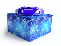 Christmas Gift Box With Blue Ribbon Royalty Free Stock Image