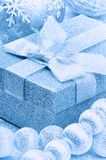 Christmas gift box in blue tone Royalty Free Stock Images