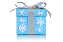Christmas gift box with bow and snow flakes for gifts Royalty Free Stock Image