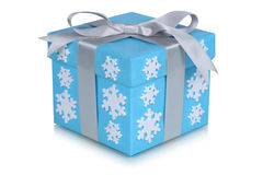 Christmas gift box bow snow flakes gifts winter isolated on whit Royalty Free Stock Photography