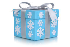 Christmas gift box with bow and snow flakes for gifts in winter Royalty Free Stock Image