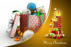Christmas  gift box with bubbles and candle Royalty Free Stock Photos