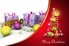 Christmas  gift box with bubbles and candle Royalty Free Stock Photo
