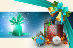 Christmas  gift box with bubbles Royalty Free Stock Photography