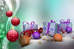 Christmas  gift box with bubbles Royalty Free Stock Photo