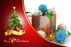 Christmas  gift box with bubbles Royalty Free Stock Image
