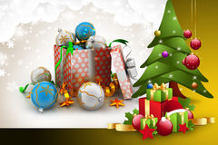 Christmas  gift box with bubbles Stock Image
