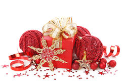 Christmas gift box with christmas balls Royalty Free Stock Image