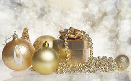 Christmas gift box with christmas balls Royalty Free Stock Photos