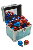 Christmas Gift box with Christmas balls isolated Royalty Free Stock Images