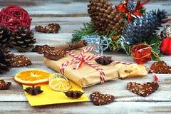 Christmas gift box, Christmas decorations and greeting card Royalty Free Stock Photos
